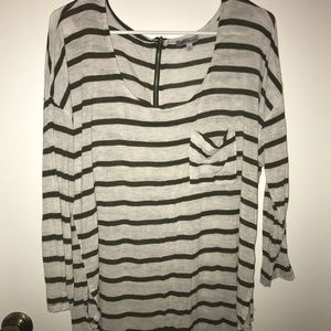 Green & Off-White Striped Top
